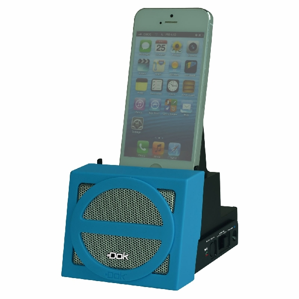 Portable Universal Cradle with Speaker System (Bluetooth), Rechargeable Battery (Blue Face)