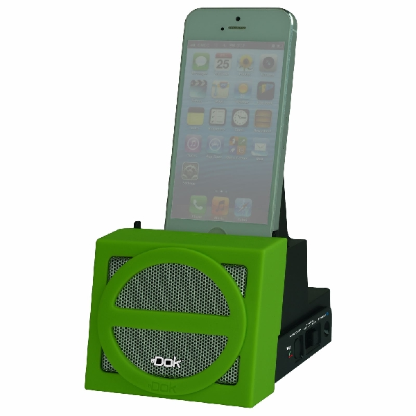 Portable Universal Cradle with Speaker System (Bluetooth), Rechargeable Battery (Green Face)