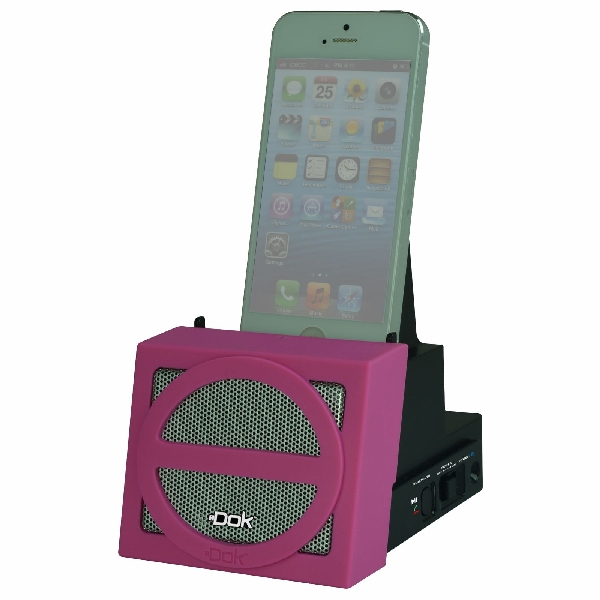 Portable Universal Cradle with Speaker System (Bluetooth), Rechargeable Battery (Pink Face)