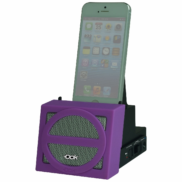 Portable Universal Cradle with Speaker System (Bluetooth), Rechargeable Battery (Purple Face)