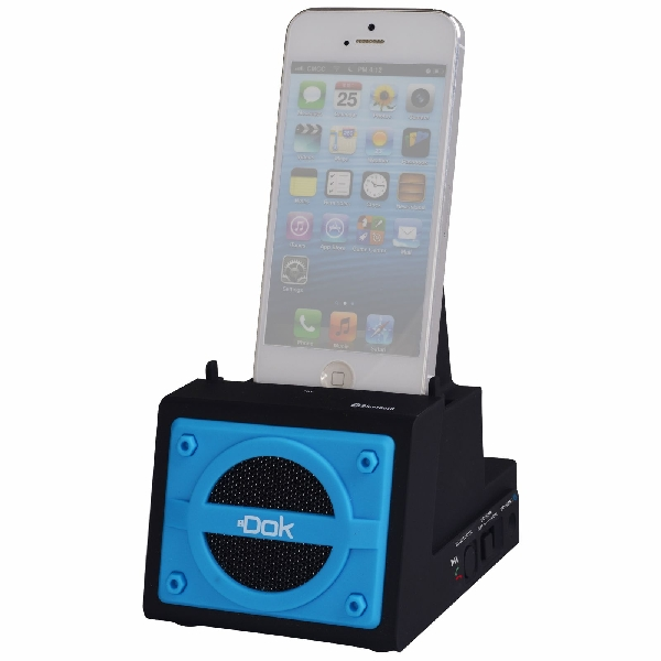 2 Port Smart Phone Charger with Bluetooth Speaker, Speaker Phone, Rechargeable Battery (Blue Face)