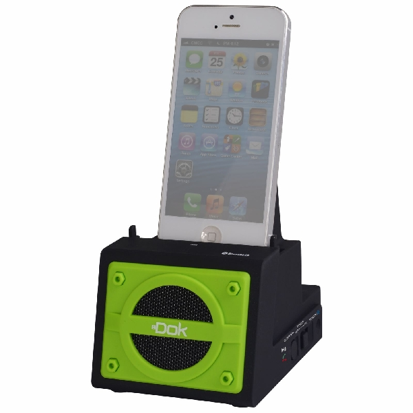 2 Port Smart Phone Charger with Bluetooth Speaker, Speaker Phone, Rechargeable Battery (Green Face)