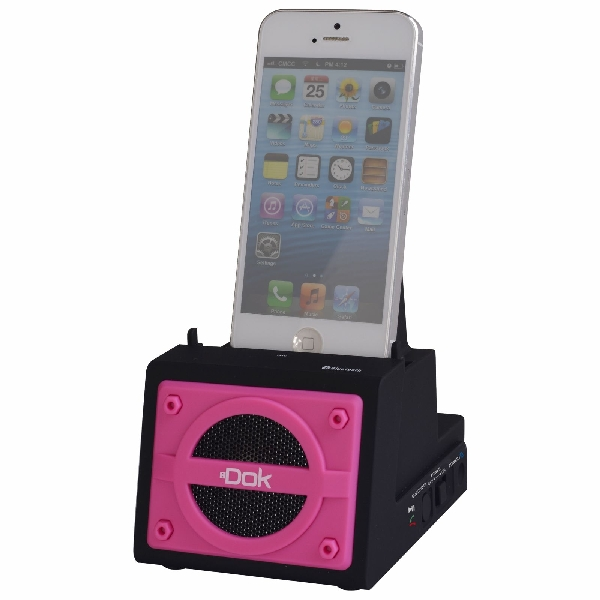 2 Port Smart Phone Charger with Bluetooth Speaker, Speaker Phone, Rechargeable Battery (Pink Face)