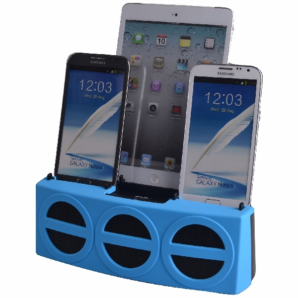 3 Port Smart Phone Charger with Speaker (Blue Face)