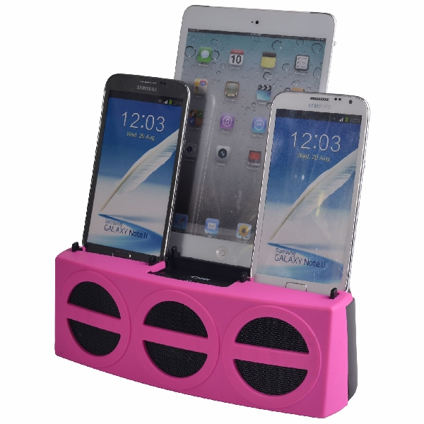3 Port Smart Phone Charger with Speaker (Pink Face)