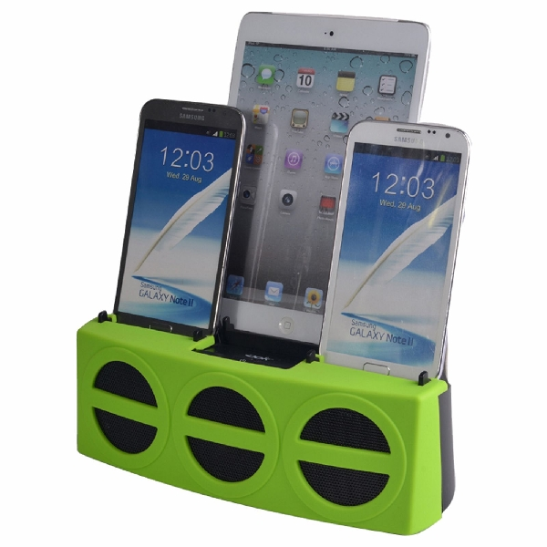 5 Port Smart Phone Charger with Bluetooth Speaker and Speaker Phone (Green Face)