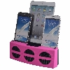 5 Port Smart Phone Charger with Bluetooth Speaker and Speaker Phone (Pink Face)