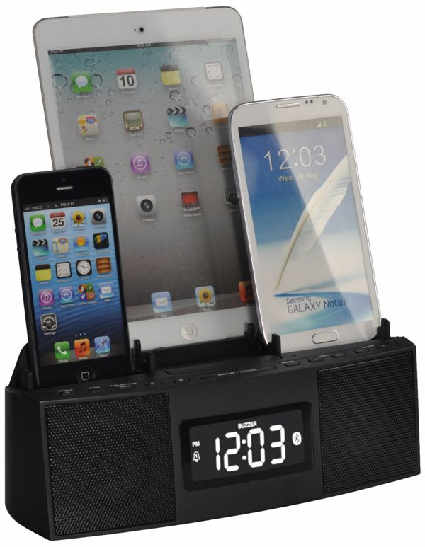 3 Port Smart Phone Charger with Speaker Phone (Bluetooth), Alarm, Clock, FM Radio