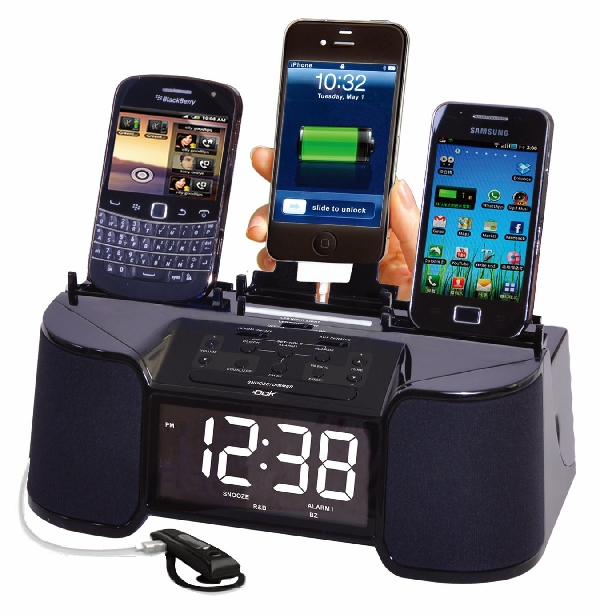 4 Port Smart Phone Charger with Alarm, Clock, FM Radio