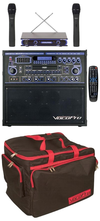 Professional Karaoke and Multi-Format Entertainment System (Includes Wireless Mic and Bag)