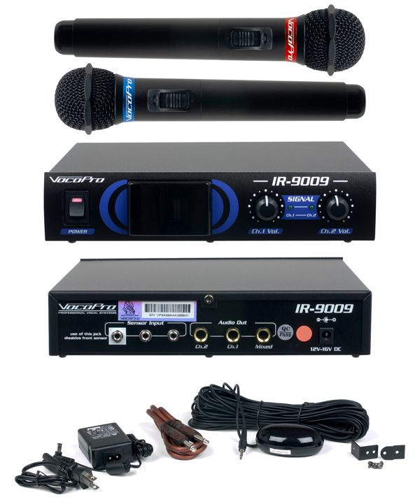 Infrared Dual Rechargeable Wireless Microphone System (Freq: Orange/Green)