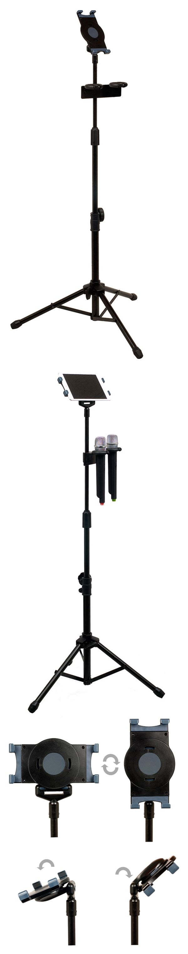 Universal Tablet Tripod Stand with Dual Mic Holder