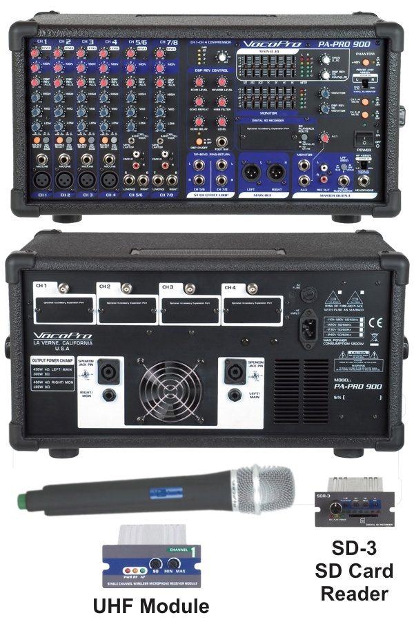 900W Professional PA Mixer with Optional SD Card Reader and UHF Module and Microphone
