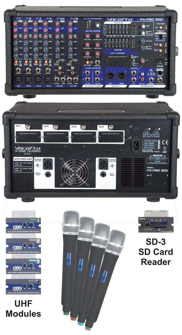 900W Professional PA Mixer with Optional SD Card Reader and 4 UHF Modules and 4 Microphones