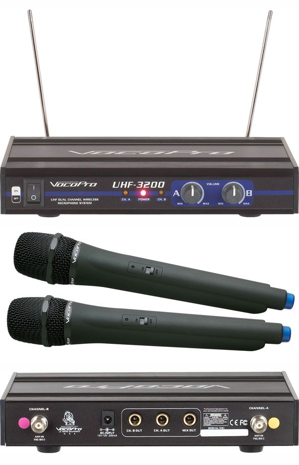 UHF-Dual Channel Wireless Microphone System (Freq: O, P2)