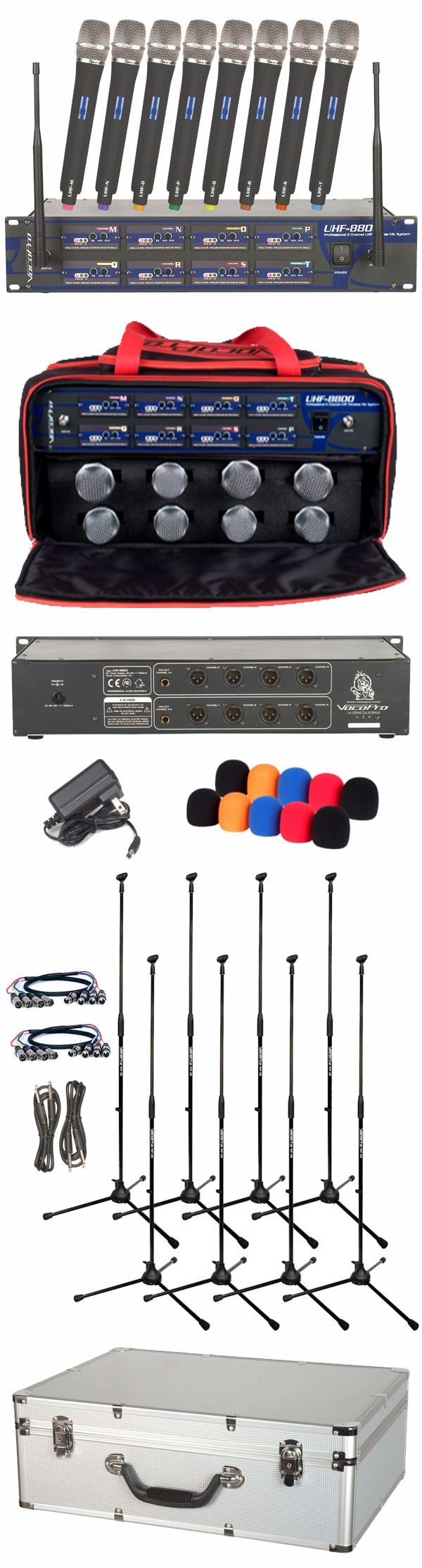 8 Channel UHF Wireless Microphone System with XLR Cables and Mic Stands (Freq: 9I, 9J, 9K, 9L, 9M, 9N, 9O, 9P)