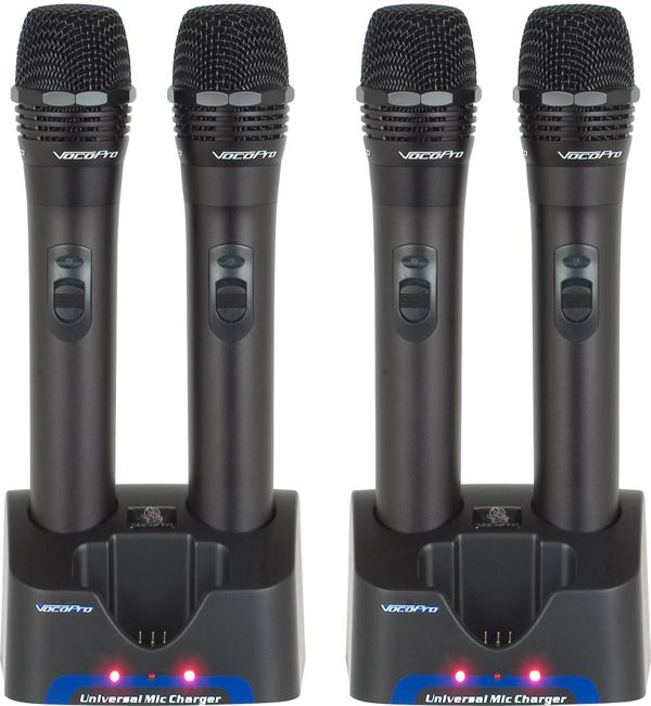 4 UHF Handheld Rechargeable Microphones with Charging Stations (Freq: M, N, O, PII)
