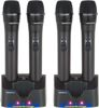 4 UHF Handheld Rechargeable Microphones with Charging Stations (Freq: Q, R, S, T)