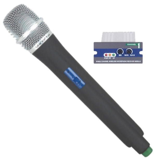 UHF Module and Wireless Handheld Mic is compatible with the UHF-5800, PA-MAN, UHF-8800 and the PA-PRO 900 (619.12 MHz Light Blue)