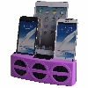 3 Port Smart Phone Charger with Speaker (Purple Face)