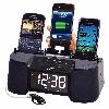 4 Port Smart Phone Charger with Speaker, Alarm, Clock & FM Radio